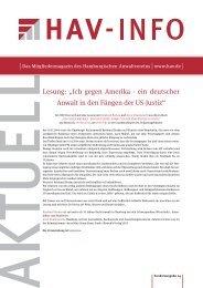 """Lesung: """"Ich gegen Amerika - ein deutscher Anwalt in den ... - HAV"""
