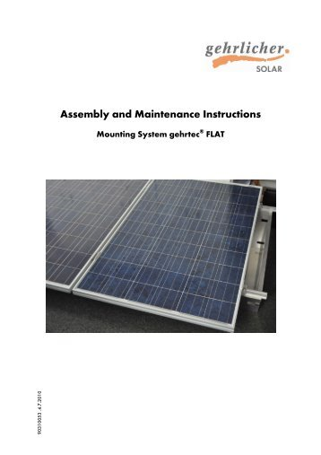 Assembly and Maintenance Instructions - Gehrlicher Solar