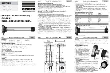 GEIGER ROLLLADENMOTOR GR45.. - Geiger Antriebstechnik