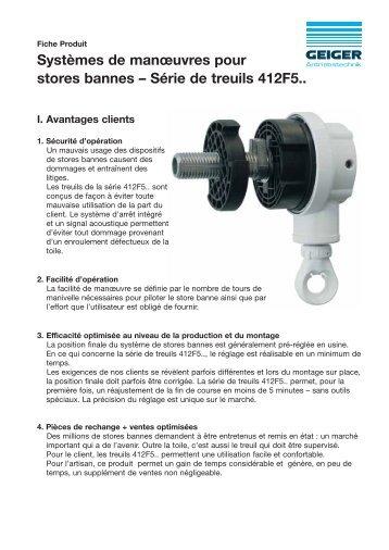 Systèmes de manœuvres pour stores bannes - Geiger Antriebstechnik