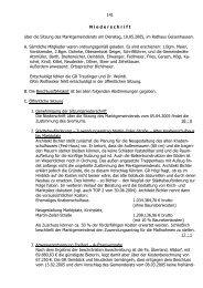 141 N iederschrift über die Sitzung des Marktgemeinderats am ...