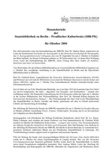 Oktober 2004 - Staatsbibliothek zu Berlin