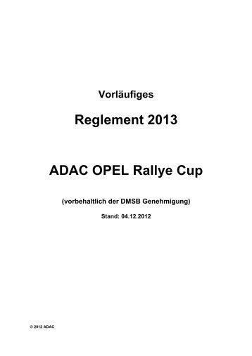Reglement ADAC Opel Rallye Cup 2013 - ADAC Motorsport