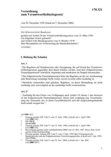 Verordnung zum Verantwortlichkeitsgesetz1 170.321 - admin.ch