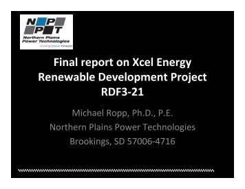 Loss of Mains Final Project Presentation - Xcel Energy