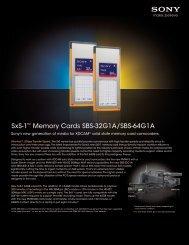 SxS-1™ Memory Cards SBS-32G1A/SBS-64G1A - Sony