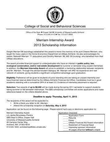 Application - University of Massachusetts Amherst