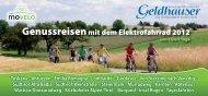 Genussreisen mit dem Elektrofahrrad 2012 - Geldhauser