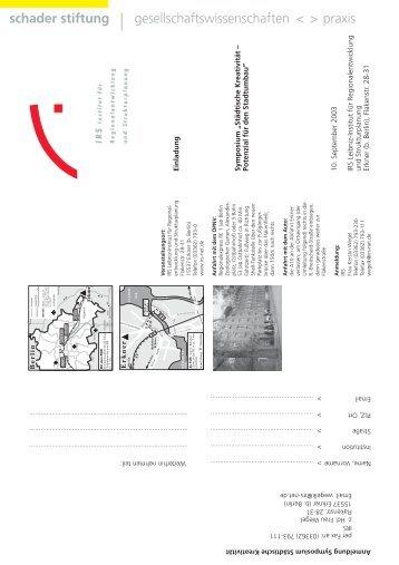 Einladung Symposium IRS - Schader-Stiftung