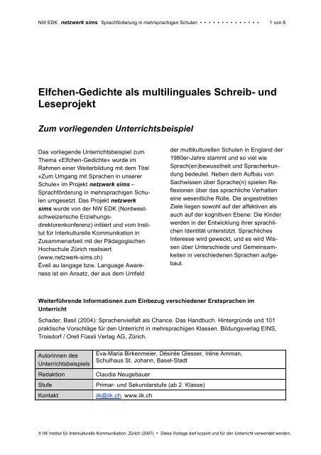 Elfchen Gedichte Als Multilinguales Schreib Und