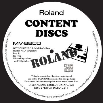 "DISC 1 ""DEMO PROJECT DATA"" - Roland"