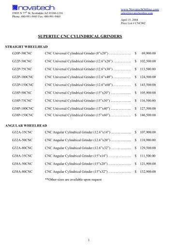 CNC Cylindrical Grinder Price List