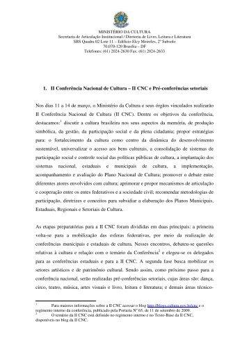 1. II Conferência Nacional de Cultura – II CNC e Pré-conferências ...