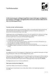 Tarifinformation zu Internet-Nutzungen von Mitgliedern des Verbands