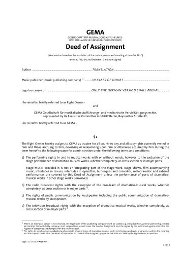 assignment of deed