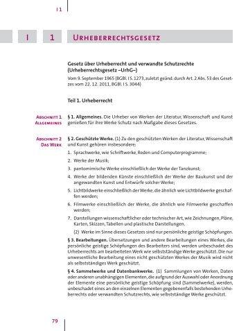Versammlungen- und Wahlordnung urheberrechtsgesetz 1 I ...