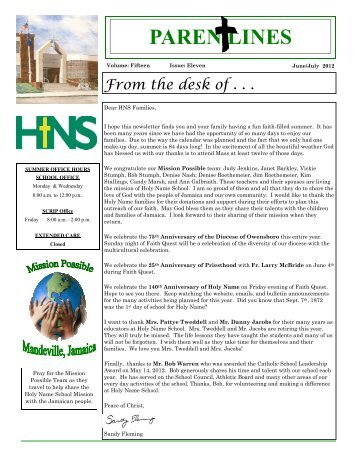Volume 15, Issue 11, June/July 2012 - Holy Name of Jesus Catholic ...