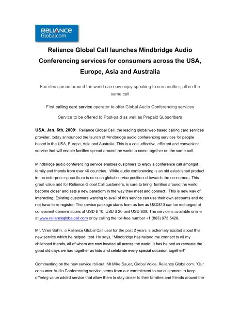 Reliance Global Call launches Mindbridge Audio Conferencing