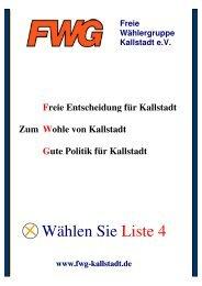 Wählen Sie Liste 4 - Freie Wählergruppe Kallstadt eV