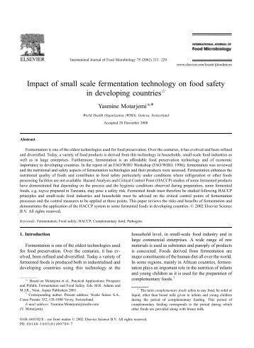 Impact of small scale fermentation technology on food safety in ...
