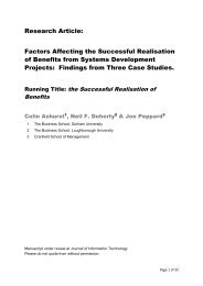 Factors Affecting the Successful Realisation of Benefits from ...