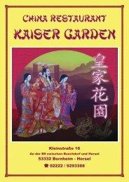 Speisekarte zum Download - Kaiser Garden