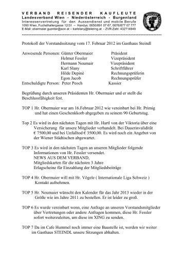 Protokoll der Vorstandssitzung vom 17