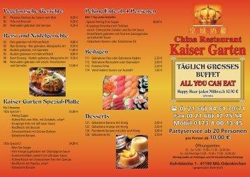 Speisekarte - China Restaurant Kaiser Garten in Mönchengladbach ...