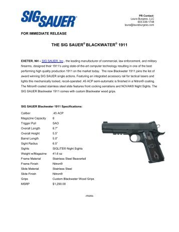 THE SIG SAUER BLACKWATER 1911 - Shooting Sports Pro Shop