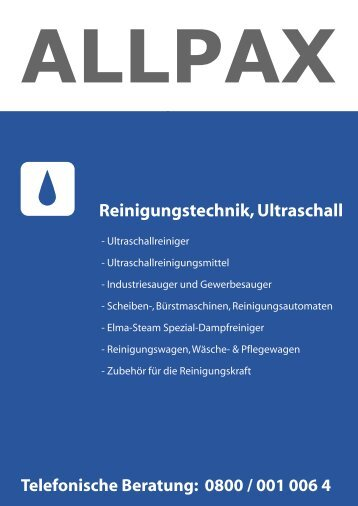 Reinigungstechnik, Ultraschall - Allpax GmbH & Co. KG