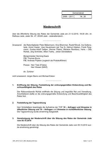 Sitzung Nr. 28 - 12.12.2010 - Gemeinde Jade