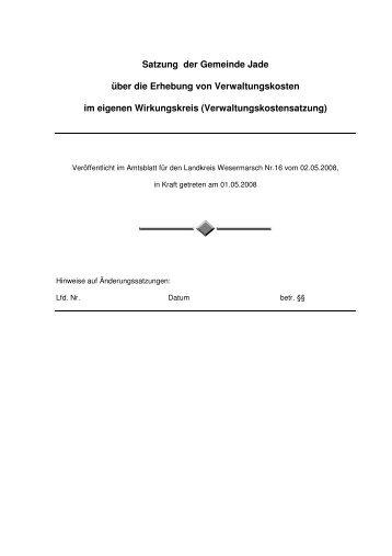 Verwaltungskostensatzung - Gemeinde Jade