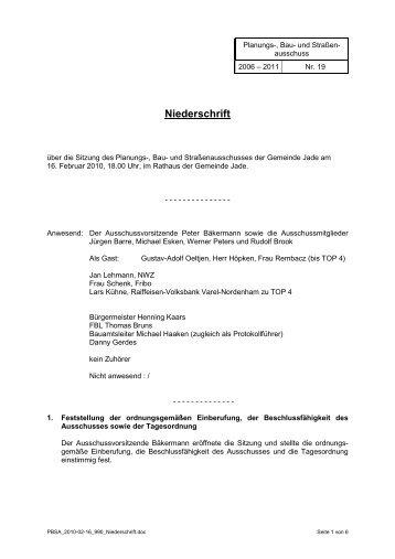 Niederschrift - Gemeinde Jade