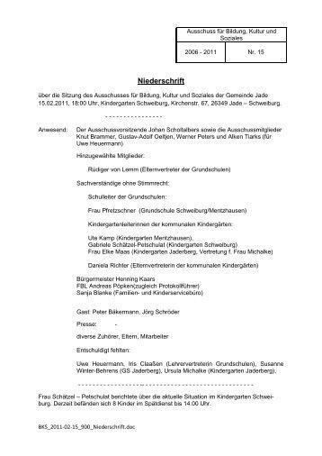 Sitzung Nr. 15 - 15.02.2011 - Gemeinde Jade