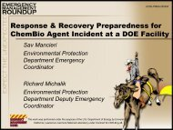 Response & Recovery Preparedness for ChemBio Agent Incident at ...