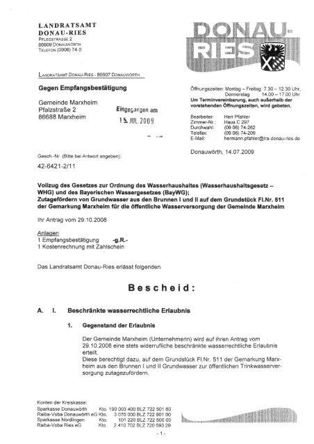 Aktueller Bescheid LRA - Marxheim