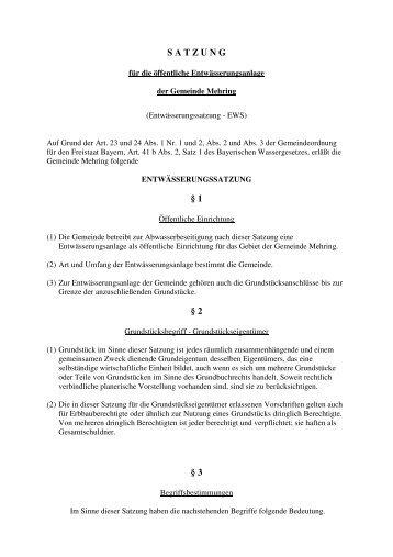 Bekanntgabe der Niederlegung einer Satzung in der ... - Mehring