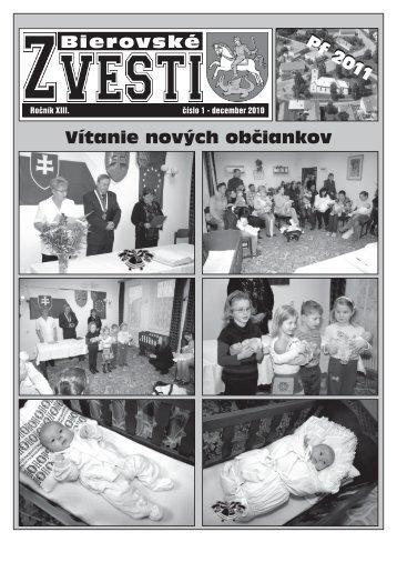 Bierovské zvesti - december 2010 - Obec Veľké Bierovce