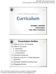 2 K to 12 Curriculum 20 Feb 2012
