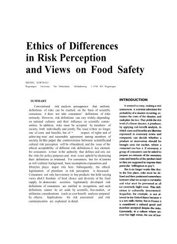 food safety risk perception Between the influencing factors of risk perception for food safety and the purchasing behavior (hu and hua, 2008), while the empirical studies on risk perception for.
