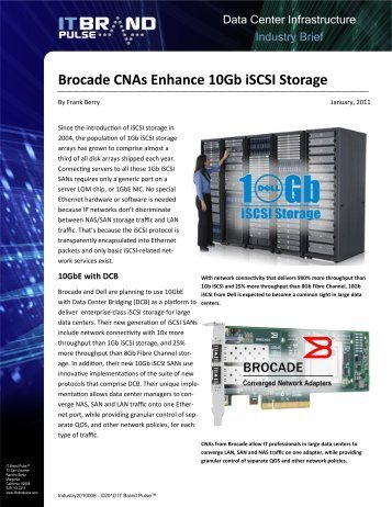 Brocade CNAs Enhance 10Gb iSCSI Storage