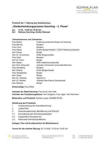 Protokoll zur 1. Sitzung des Arbeitskreises - Stadt Garching b ...