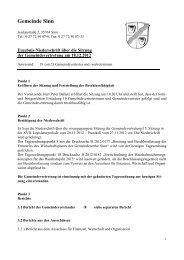 Ergebnisniederschrift Gemeindevertretersitzung ... - Gemeinde Sinn