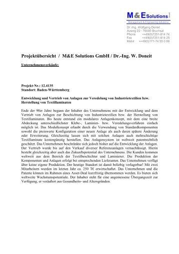 M&ESolutions Projektübersicht / M&E Solutions GmbH / Dr.-Ing. W ...