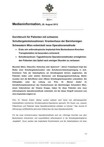 Medieninformation, 28. August 2012 - Vinzenz Gruppe