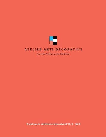PDF hier herunterladen. - ATELIER ARTI DECORATIVE