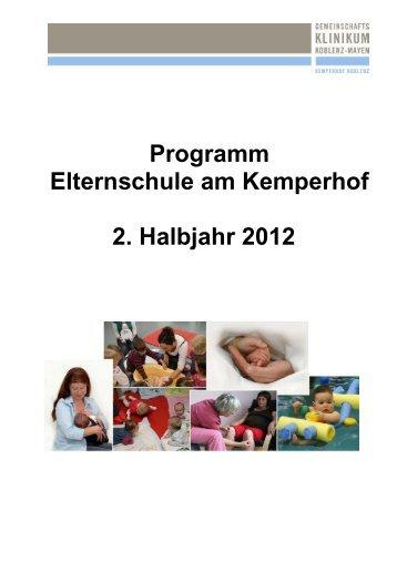 Programm Elternschule am Kemperhof 2. Halbjahr 2012