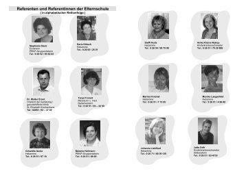 Referenten und Referentinnen der Elternschule
