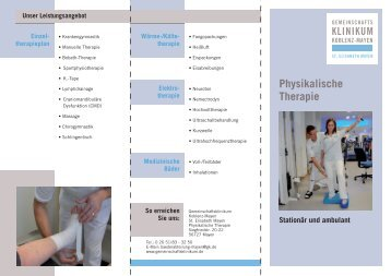 Physikalische Therapie - Gemeinschaftsklinikum Koblenz-Mayen