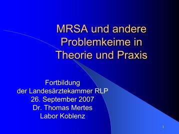 MRSA und andere Problemkeime in Theorie und Praxis
